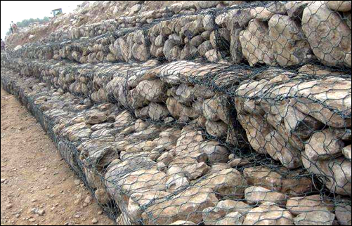 Galfan galvanized green polymer coated box type gabion baskets